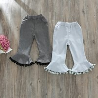 Wholesale Wholesale Clothing Cargos - Everweekend Kids Girls Autumn Boot Cut Tassels Pants Candy Color Ruffles Sweet Children Fashion Western Clothing