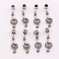 Wholesale G Beads - G Treble Clef Music Note Charm Beads 100pcs lot Antique Silver Fit European Bracelets Jewelry DIY 39.2x11.2mm B1629