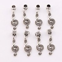 G Treble Clef Music Note Charm Beads 100pcs / lot Antique Silver Fit European Bracelets Jewelry DIY 39.2x11.2mm B1629