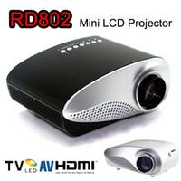 mini proyector av portátil vga al por mayor-RD802 Mini proyector portátil LED Beamer Cinema VGA TV USB HDMI AV Proyector LCD para videojuegos TV Home Theatre Movie VS RD805