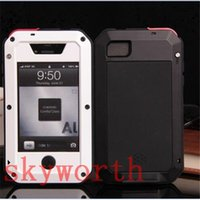 Wholesale Waterproof Case Glass Screen - ShockProof Waterproof Aluminum Metal Case Cover Premium Gorilla Tempered Glass Screen Protector For iphone 4 4S
