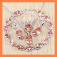 Exquisito Orange Morganite Drop Bracelets Jewelry Sets para mujeres Angelic 925 Sterling Silver Earrings / Ring / Necklace / Pendant