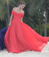 Wholesale Sexy Girls Without Dress - Red Green Blue Colors Chiffon Cheap off The Shoulder Short Sleeves Prom Dresses Long Elegant Girls Party Evening Dresses without belt