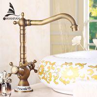 Wholesale Bathroom Faucets Antique Bronze Finish - Free shipping Antique Bronze Finish 360 Degree Swivel Brass Printing Faucet Bathroom Basin Mixer Bath& kitchen taps Faucet H-15