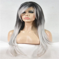 Wholesale black wig straight long bangs - Long Straight Black silvery Grey Ombre Side Swept Bangs Synthetic Wig