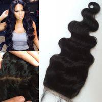 Wholesale Silk Base Closure Body Wave - Peruvian Virgin Human Hair Free Middle 3 Part Silk Base Closure Bleached Knots medium brown dark brown silk base closure G-EASY