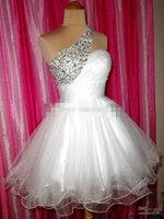 Wholesale Rhinestone Shoulder Strap Pieces - Stunning 2017 Real Image Homecoming Dresses Modern A Line One shoulder Mini Beaded Rhinestone Organza Homecoming Dresses