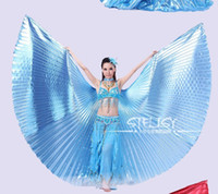 Wholesale Belly Dance Wings Gold - Wholesale-1pcs Gold Egypt Costume Isis Belly Dance Wings Dance Wear Wing With Adjustable Neck Collar Hot Worldwide