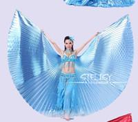 goldflügel kostüm großhandel-Wholesale-1pcs Gold Ägypten Kostüm Isis Bauchtanz Flügel Tanzabnutzung Flügel mit verstellbaren Hals Kragen Hot Worldwide