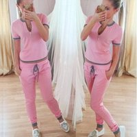 Wholesale Low Price Fitness - Lowest Price ! Classic Women Sexy Tracksuits 2PCS Set,Fashion Jogging Fitness Sets,Woman Sportswear Short Sleeved Sports Suit Tops+Pants Set