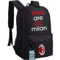 Wholesale team soccer bags online - AC milan backpack Good club day pack Football team school bag Soccer packsack Quality rucksack Sport schoolbag Outdoor daypack