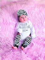 Wholesale Sparkling Bodysuit - fashion summer autumn style Bodysuit 3 PCS Newborn Baby Girl TOP Romper Stripe+Bow+Headband Warmer brand sparkling cotton kids Clothes Set