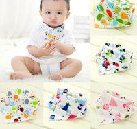 Wholesale Double Dribble - High quality double layers cotton baby bibs Burp Cloths Lovely Cartoon Character Animal baby bandana dribble bibs