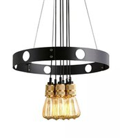 Wholesale led circle bulb - New Edison bulb chandelier, iron circle, creative chandelier, retro restaurant Chandelier LLFA