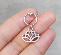 2Pcs New Handmade Lotus Captive Bead Ring Cartilagem Conch Helix Tragus Navel Ear Piercing