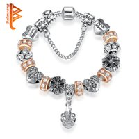 BELAWANG Atacado Silver Plated Snake Chain Charm Bracelets Crown Pendant Crystal Heart Beads BraceletBangle Fashion Jewelry for Mother