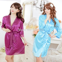 Wholesale Sexy White Lace Nighty - Wholesale-Female Silk Sexy Nighty Dress Plus Size Nightgown V-neck Lace Belt Robe with G String Set 6 Colors Free Shipping
