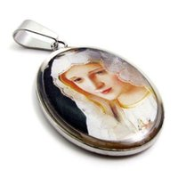 perlenkette jesus großhandel-316L Edelstahl religiöse Jesus Mary Saint Jude katholischen Bild Charm Anhänger Kette Halskette W / 20