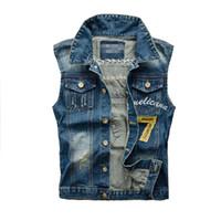 Wholesale Denim Waistcoat Men - Fall-Denim Jeans Vest Men Letter Embroidery Male Jeans Waistcoat Hole Washed Cowboy Jeans Denim Vest Sleeveless Plus Size 5XL,YA216