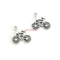 Wholesale Bike Jewelry Silver - 20pcs Antique Silver Plated Bike Bicycle Charms Pendants for Necklace Bracelet Jewelry Accessories Making DIY Handmade 19x20mm
