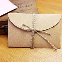 Wholesale Envelope Vintage Paper - Wholesale-50pcs set Vintage Love small Brown Pink Kraft blank mini paper envelopes wedding invitation envelope  gilt envelope 2 color