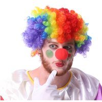 Wholesale Wig Disco - Holloween Disco Party Colorful Afro Clown Free Size Child Adult Costume Football Fan Fun Wig Rainbow Hair Sponge clown nose