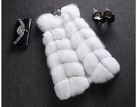 Wholesale Waistcoat Women Real Fur - Women's 100% Real Genuine Full Pelt Skin Luxury Fox Fur Long Vest Waistcoat Gilet Fashion