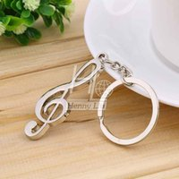 Wholesale Music Symbol Key - 1pc key ring key chain Silver Plated musical note keychain for car metal music symbol key chains