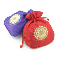 Wholesale Embroidery Sachet - Chinese Craft Small Gift Packaging Bags for Jewelry Storage Bag Satin Fabric Embroidery Sun Drawstring Fragrance Lavender Sachet Pouch