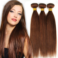 mocha dokuma saç toptan satış-Büyük İndirim-Sınıf 7A !! # 6 açık Kahverengi Brezilyalı Bakire Remy Saç İpeksi Düz Örgü 3 Adet Lot Çikolata Mocha Düz İnsan Saç Demetleri
