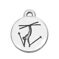 Wholesale Ski Freestyle - Myshape sport charm Engraved Freestyle Skiing double sides silver plated charms jewelry the pendant for bracelets necklaces