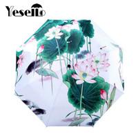 pintura a óleo flor de lótus venda por atacado-Yesello Lotus Flower Ensolarado e Chuvoso Guarda-chuva Pintura A Óleo 3 Parasol Dobrável