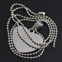Wholesale Stainless Steel Heart Shaped Necklace - 20pcs lot Heart Shape Can Carve Letter DIY Dog Tag Stainless Steel Sports Pendant Ball Chain Necklace (A124704)