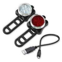 Wholesale Wholesale Wheel Strap - Bike Lights 3 LED Flashing 4 Modes Mount Strap USB Rechargeable Cable Cycling lamp Night Riding Front Headlight red Rear Taillight