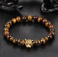 pulseira de cabeça de tigre venda por atacado-Moda hot natural ágata lapis lazuli contas de oração Olho de Tigre pulseiras pulseira jóias estiramento leão leopardo cabeça