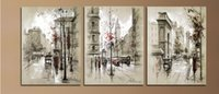 Wholesale Wall Street Canvas - Modern Home Decor Abstract Canvas Painting Retro City Street Landscape Pictures Decorative Paintings 3 Panel Wall Art No Framed