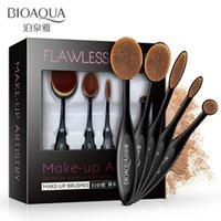 Wholesale black eyeshadow makeup - 5Pcs Set BIOAQUA Female Toothbrush Type Foundation Eyeshadow Eyebrow Lip Makeup Brushes Set Beauty Tool Make Up Brush Set Kit For Woman