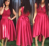 Wholesale cheapest bridesmaids dresses - Hi-Lo Cheapest Party Dresses V-Neck A-Line Backless With Sash Lace Elastic Satin Prom Bridesmaid Gowns Free Shipping