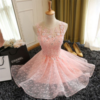 Wholesale Mini Scoops - 2016 Fashion Sweet Pink Lace Flower Sleeveless Short Cocktail Dress The Bride Banquet Party dresses Homecoming Dress Robe De Soiree