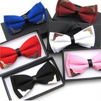 Wholesale Groom Tie Cravat - 2016 New Fashion Boutique Metal Head Bow Ties For Groom Men Women Butterfly Solid Bowtie Classic Gravata Cravat