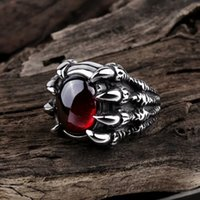 Wholesale Ruby Skull Ring - WAWFROK 2017 Fashion New Sell Like Hot Cakes Male Ring Popular Punk Style Ruby 316L Stainless Steel Rings jewelry Ruby Skull Claw Ring