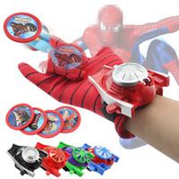 Wholesale Iron Man Guns - Spiderman Bat Iron Man Hulk Figure Anime Avenger Alliance gloves Beyblade Kid Halloween Gift Gun Toys Extraordinary Spiderman Glove