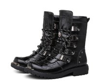 Wholesale Roman Style Boots - Retro Combat Boots Winter Plush British Style Leather Military Boots Belt Buckle Charm Low Heels Lace Up Men Boots