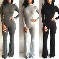 Wholesale Women Tight Jumpsuit - 2016 Women New Fashion Clubwear Sexy Rompers Tight long sleeved turtleneck baggy pants nightclub Spring Playsuits Vesitdos print Jumpsuits