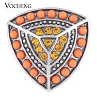 Wholesale Ornate Beads - VOCHENG NOOSA 18mm Ornate Shield Snap Jewelry 2 Colors Bead Crystal Charm Vn-1117