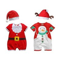 Wholesale santa baby romper - Christmas Romper Baby Rompers Kids Santa Claus Clothes Infant One-Piece Clothing Baby Christmas Rompers with Hats 2pcs Newborn Baby Rompers