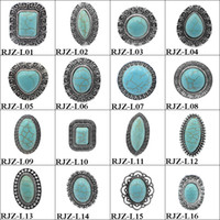 Wholesale Green Plant Costumes - High quality turquoise Rings 112 styles vintage Turquoise Natural Stone Rings Fashion Costume Gemstone Female&male Ring Jewelry Free Size
