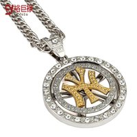 Wholesale east dance - 2016 Long chain letters rotate Ultra textured alloy hip hop rotation NY American tide brand Necklace Men and women dance trendsetter