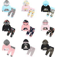 Wholesale Hooded T Shirt Pants - INS Christmas Baby Clothes Sets Boys Girls Fashion Floral Flower Printed Hooded Long Sleeve T-Shirt Pants Infant 2PCS Kids Clothing Sets 840