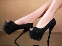 Wholesale Stiletto Heel 16 Cm - Fish mouth shoes 16 cm super fine with sexy high-heeled shoes nightclub single diamond waterproof shoes female shoes